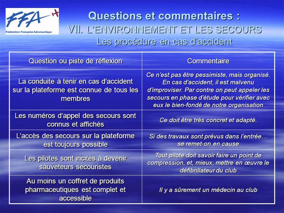 Questions et commentaires : VII