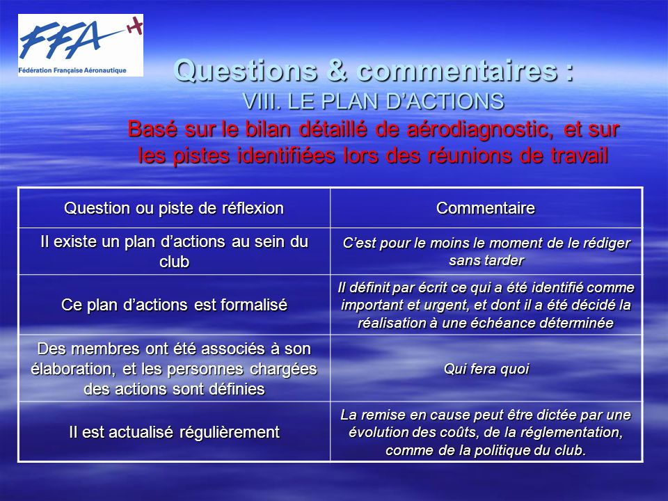 Questions & commentaires : VIII