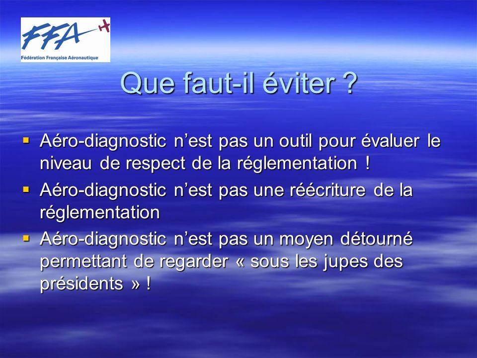 Que faut-il éviter Aéro-diagnostic n'est pas un outil pour évaluer le niveau de respect de la réglementation !