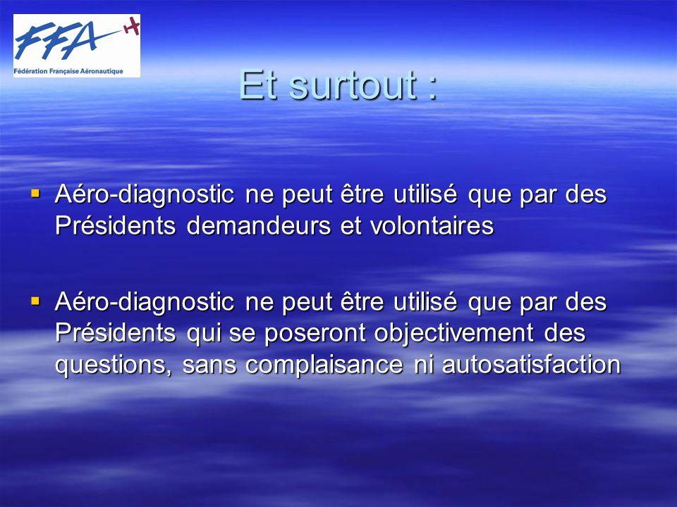 Et surtout : Aéro-diagnostic ne peut être utilisé que par des Présidents demandeurs et volontaires.