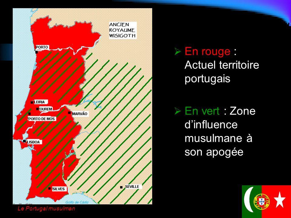 En rouge : Actuel territoire portugais