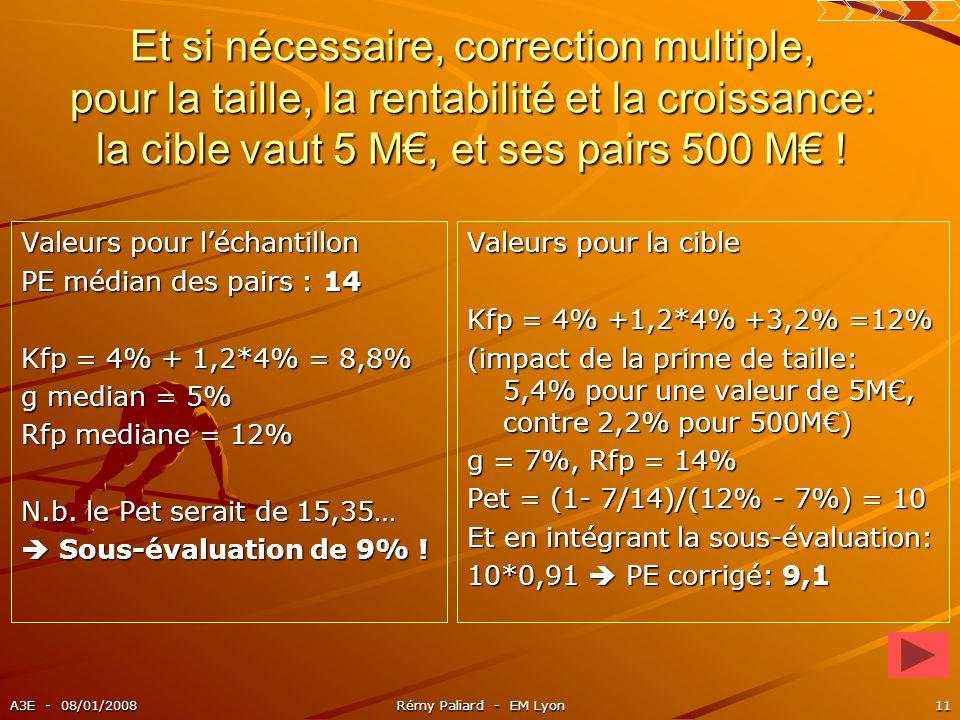 Et si nécessaire, correction multiple, pour la taille, la rentabilité et la croissance: la cible vaut 5 M€, et ses pairs 500 M€ !