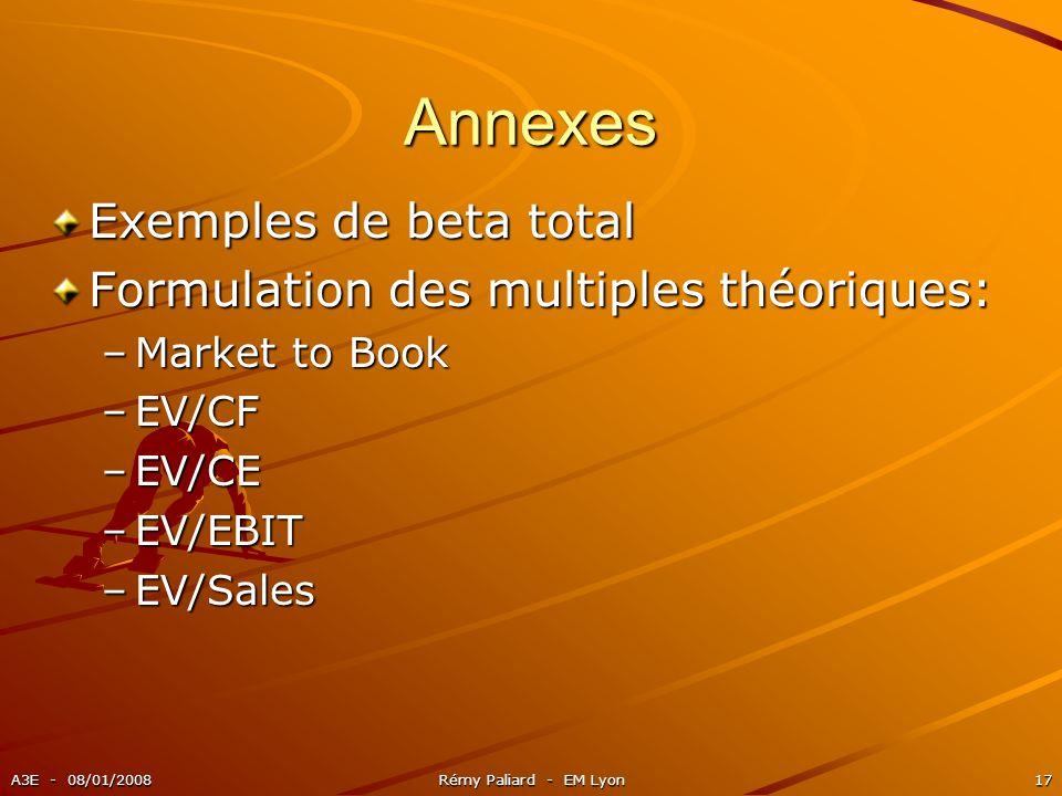 Annexes Exemples de beta total Formulation des multiples théoriques: