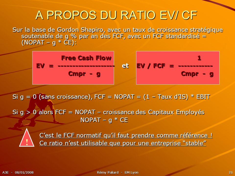 A PROPOS DU RATIO EV/ CF