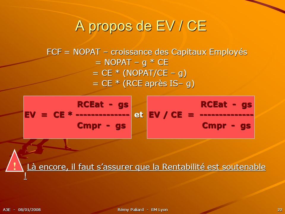A propos de EV / CE ! FCF = NOPAT – croissance des Capitaux Employés