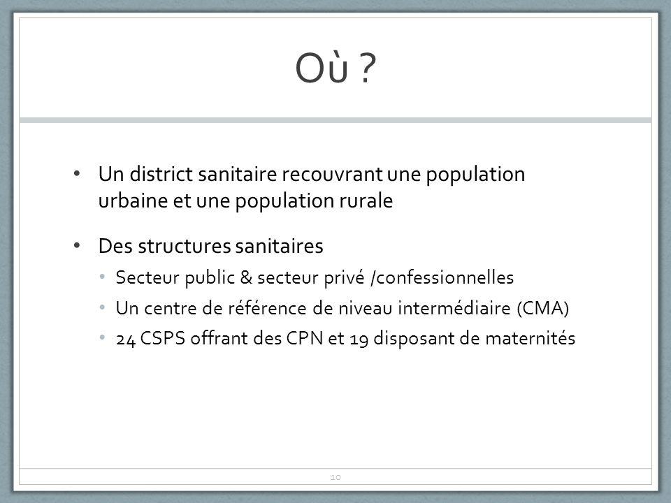 Où Un district sanitaire recouvrant une population urbaine et une population rurale. Des structures sanitaires.