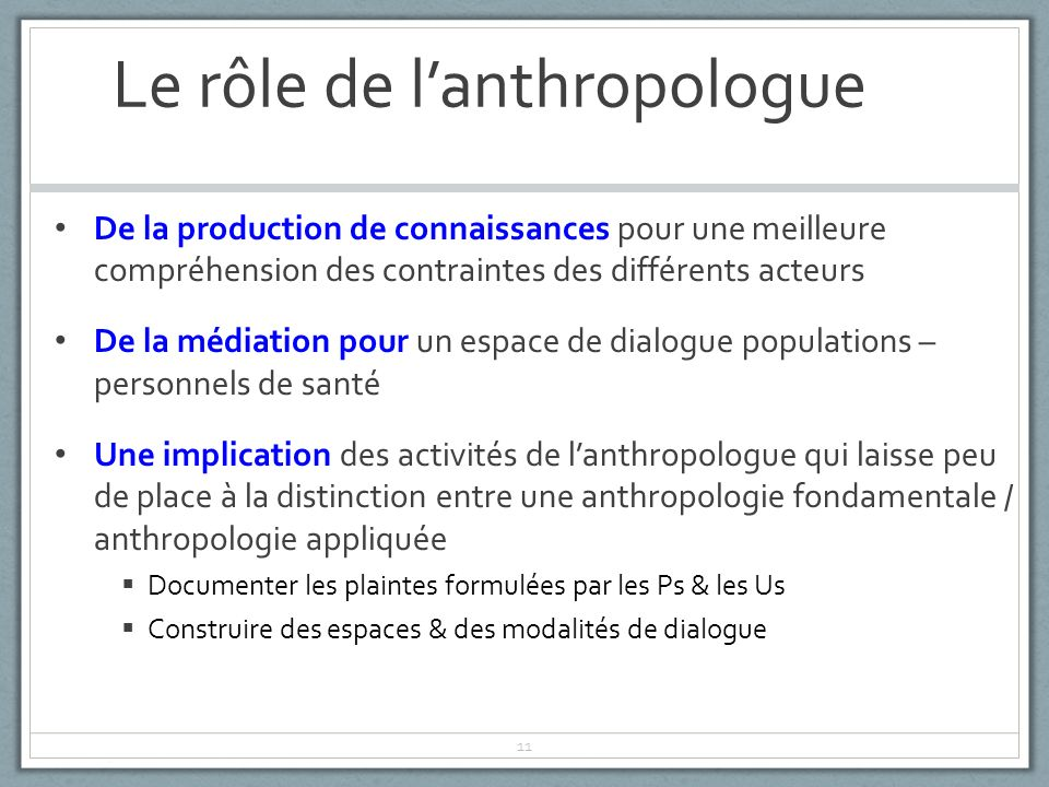 Le rôle de l'anthropologue