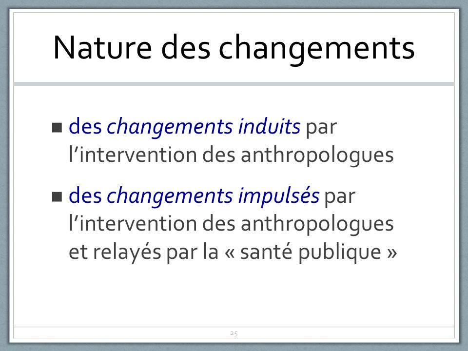 Nature des changements