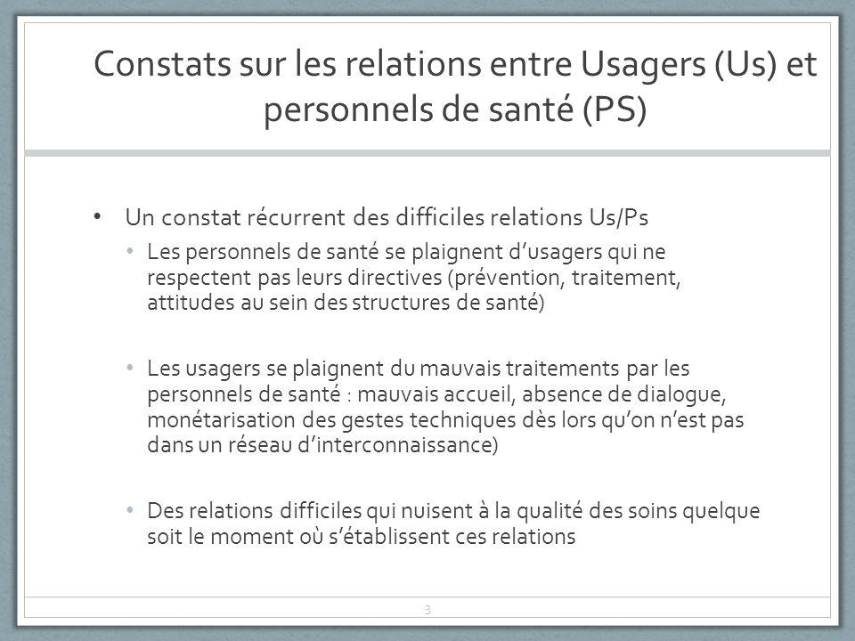 Constats sur les relations entre Usagers (Us) et personnels de santé (PS)