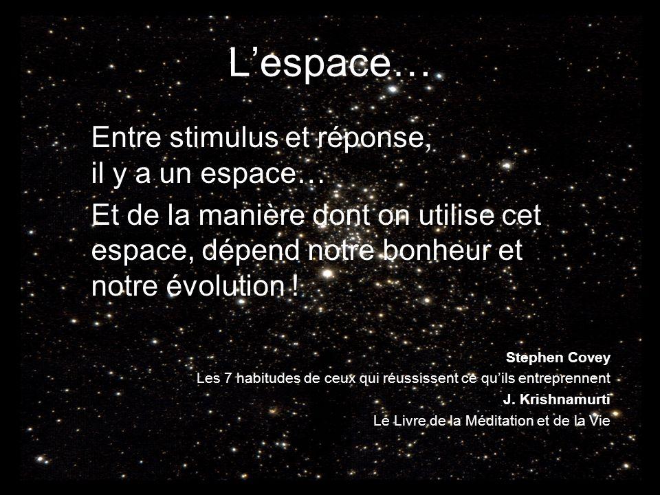 L'espace… Entre stimulus et réponse, il y a un espace…