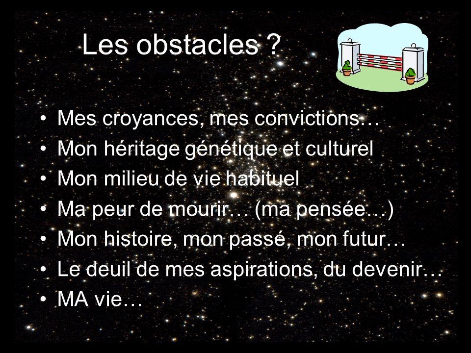 Les obstacles Mes croyances, mes convictions…
