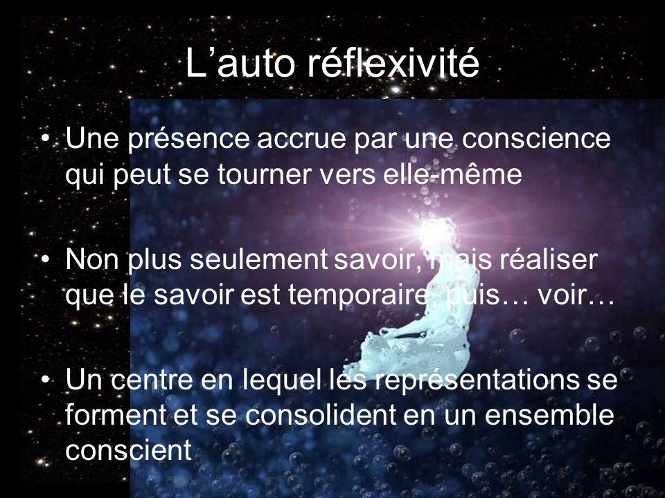 L'auto réflexivité Une présence accrue par une conscience qui peut se tourner vers elle-même.