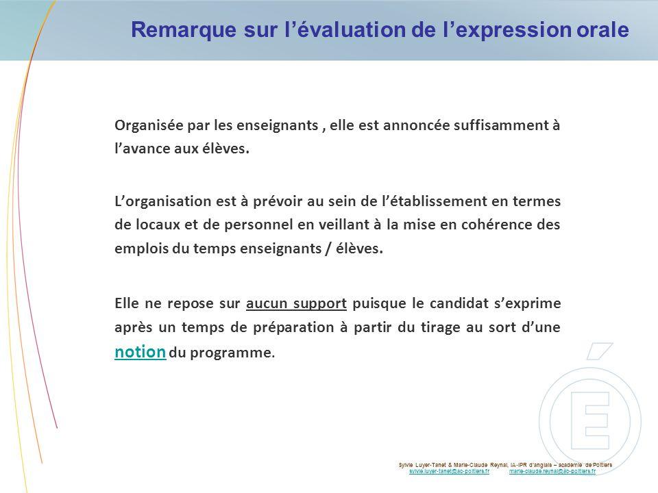 Remarque sur l'évaluation de l'expression orale