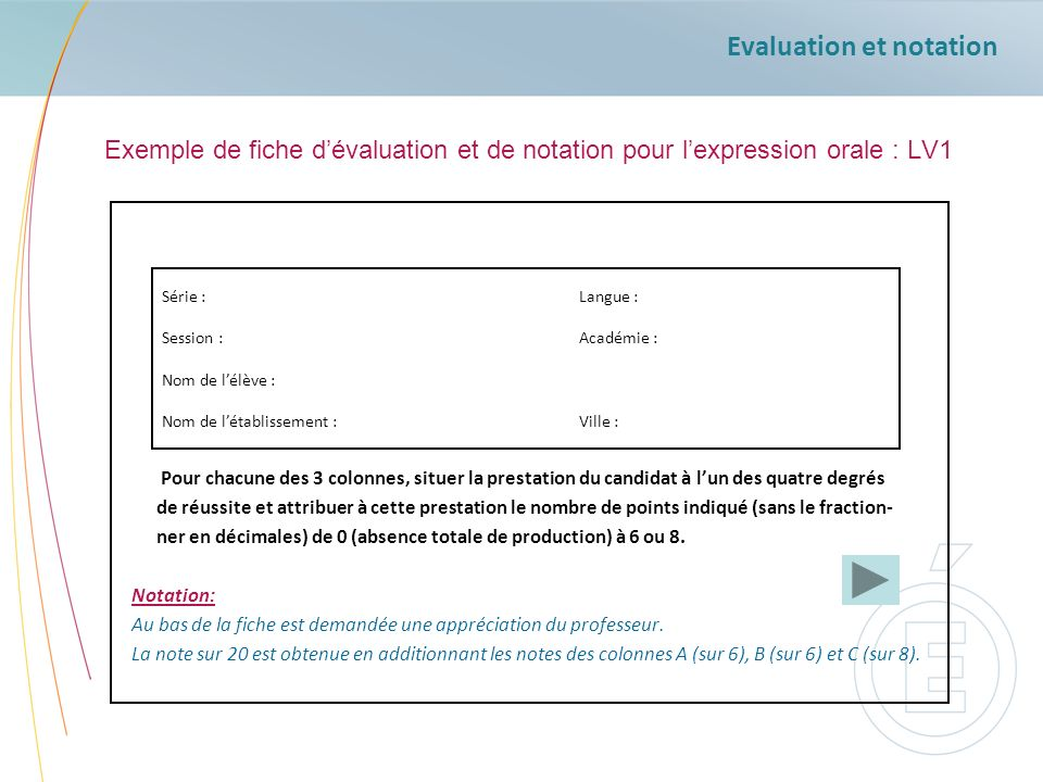 Evaluation et notation