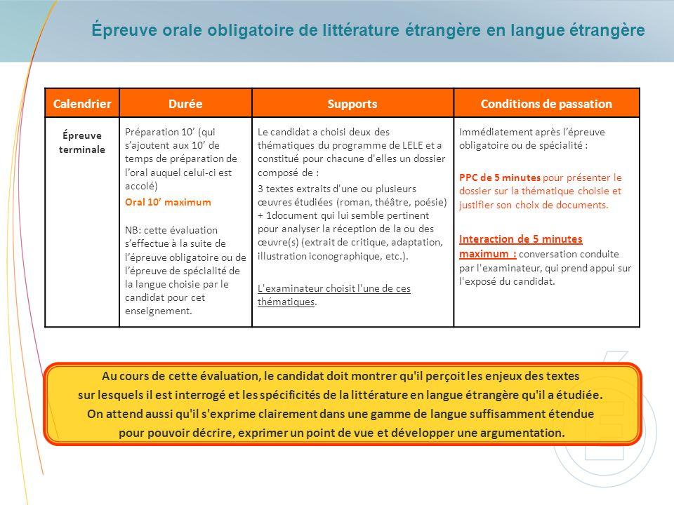 Épreuve orale obligatoire de littérature étrangère en langue étrangère