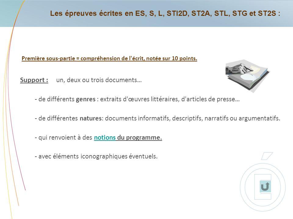 Les épreuves écrites en ES, S, L, STI2D, ST2A, STL, STG et ST2S :
