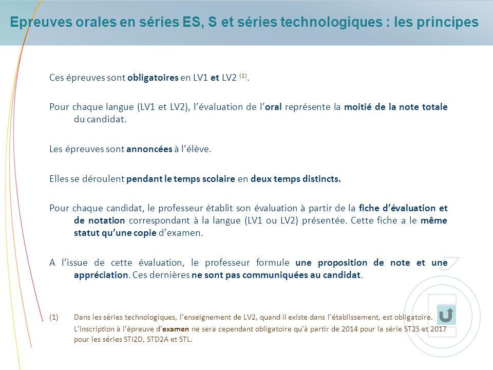 Epreuves orales en séries ES, S et séries technologiques : les principes
