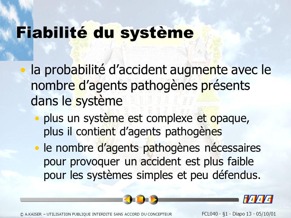 Fiabilité du système la probabilité d'accident augmente avec le nombre d'agents pathogènes présents dans le système.