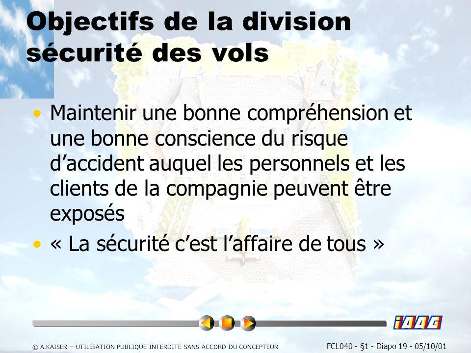 Objectifs de la division sécurité des vols