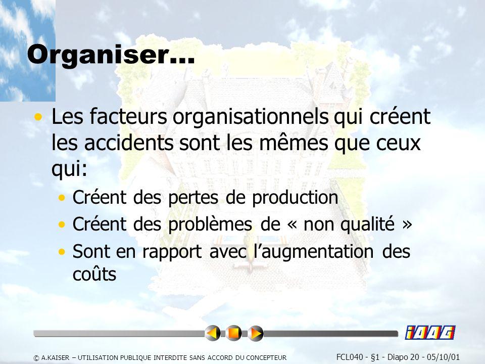 Organiser… Les facteurs organisationnels qui créent les accidents sont les mêmes que ceux qui: Créent des pertes de production.