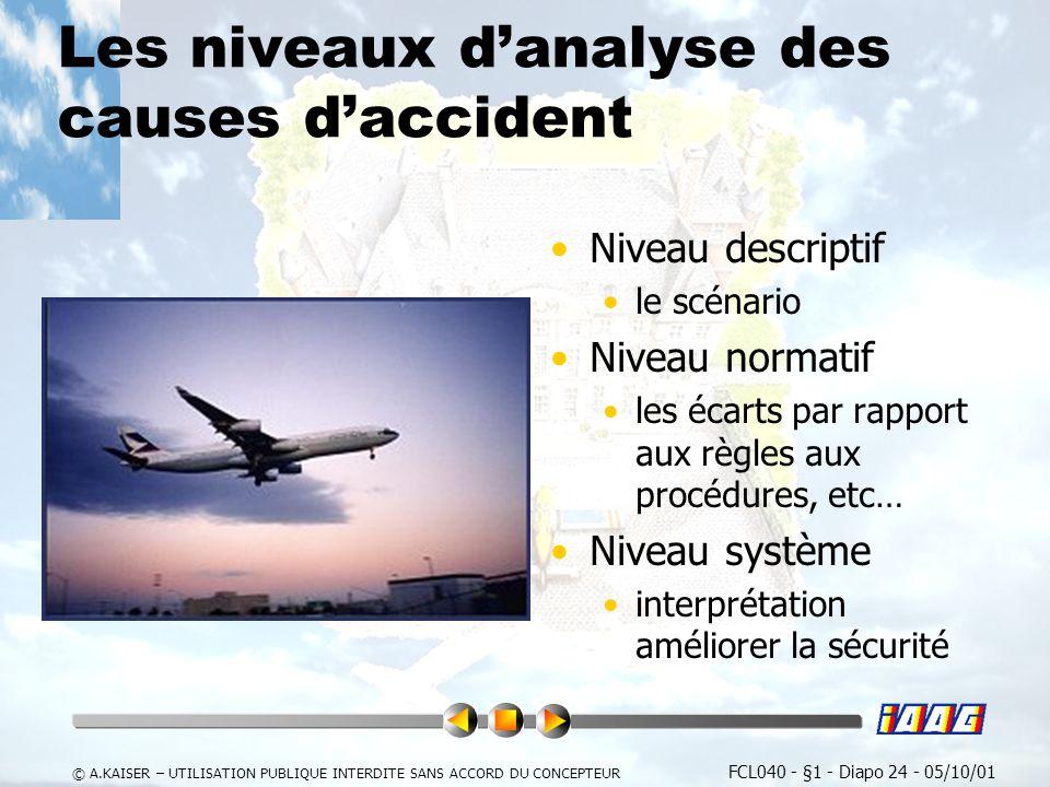 Les niveaux d'analyse des causes d'accident