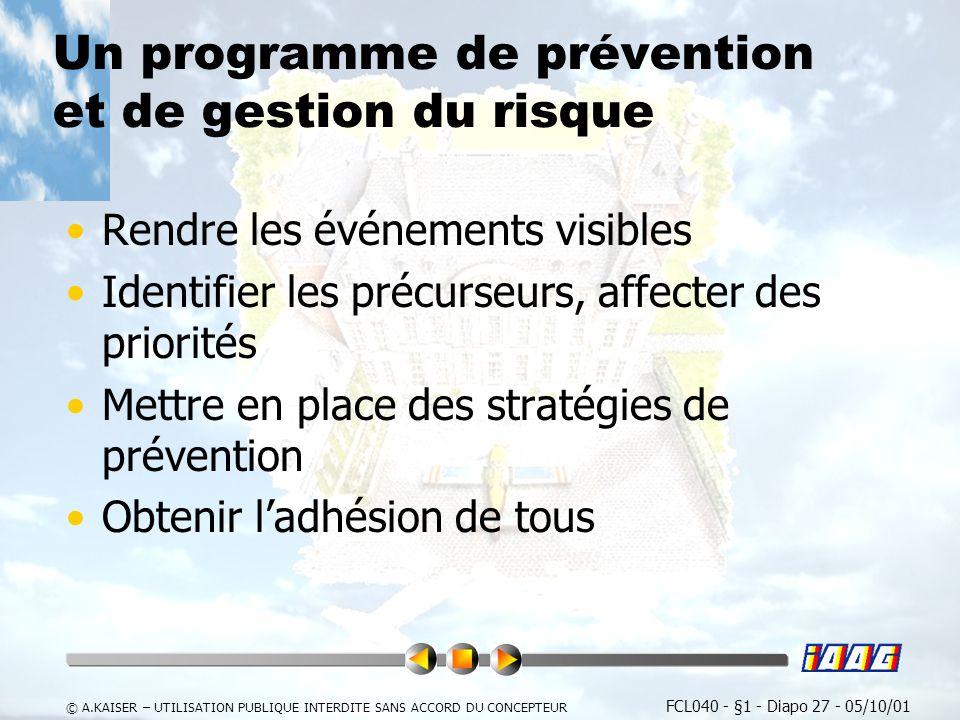 Un programme de prévention et de gestion du risque