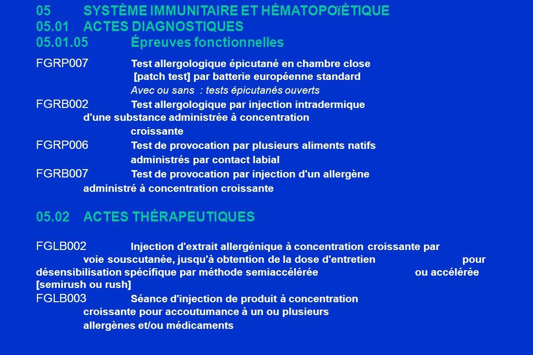 05 SYSTÈME IMMUNITAIRE ET HÉMATOPOïÉTIQUE 05.01 ACTES DIAGNOSTIQUES