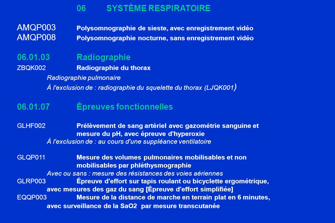 06 SYSTÈME RESPIRATOIREAMQP003 Polysomnographie de sieste, avec enregistrement vidéo. AMQP008 Polysomnographie nocturne, sans enregistrement vidéo.