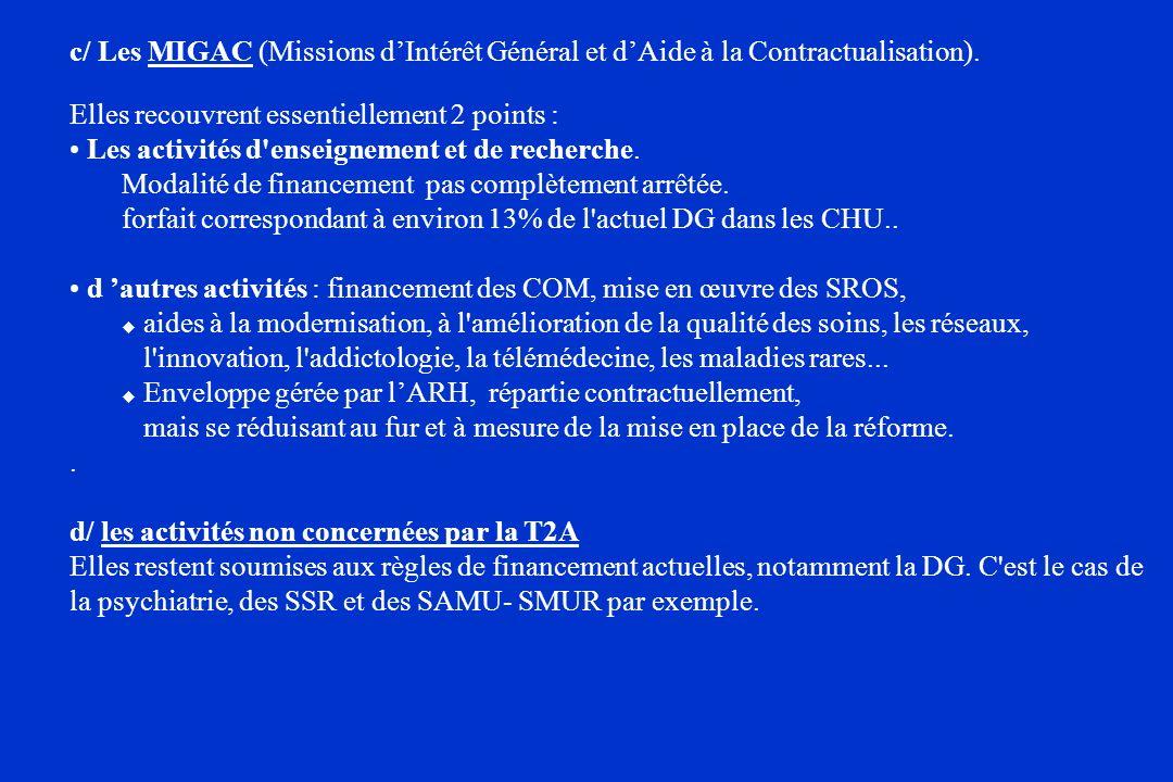 c/ Les MIGAC (Missions d'Intérêt Général et d'Aide à la Contractualisation).
