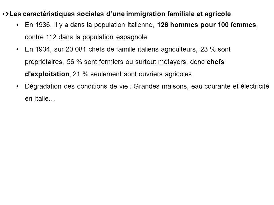 Les caractéristiques sociales d'une immigration familiale et agricole