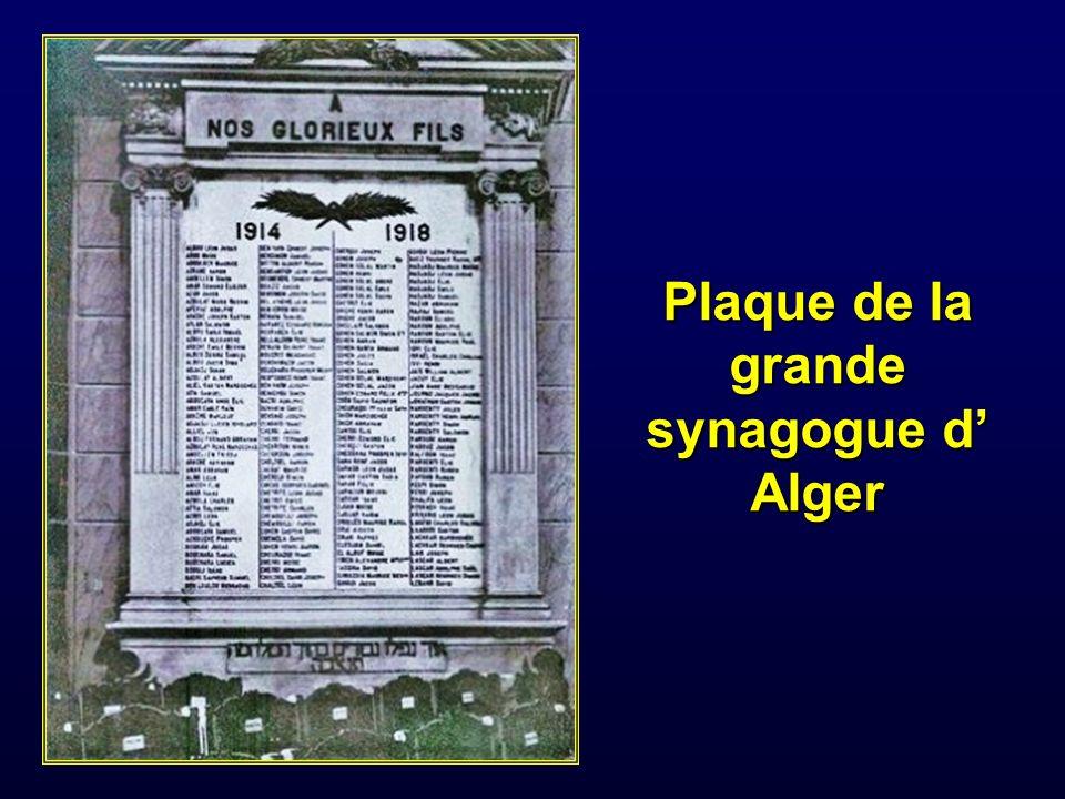 Plaque de la grande synagogue d' Alger