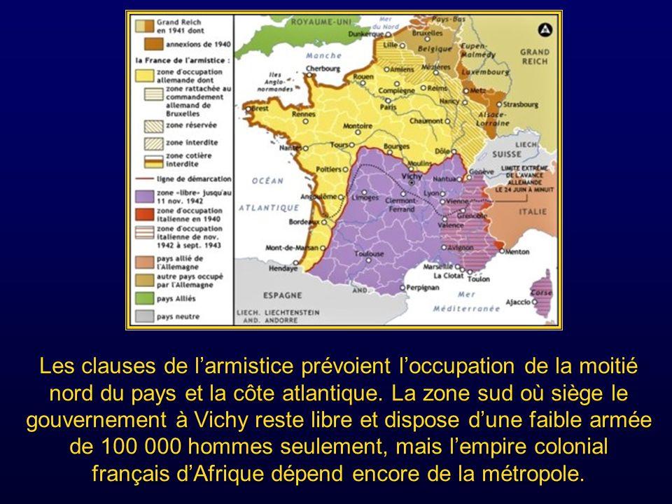 Les clauses de l'armistice prévoient l'occupation de la moitié nord du pays et la côte atlantique.