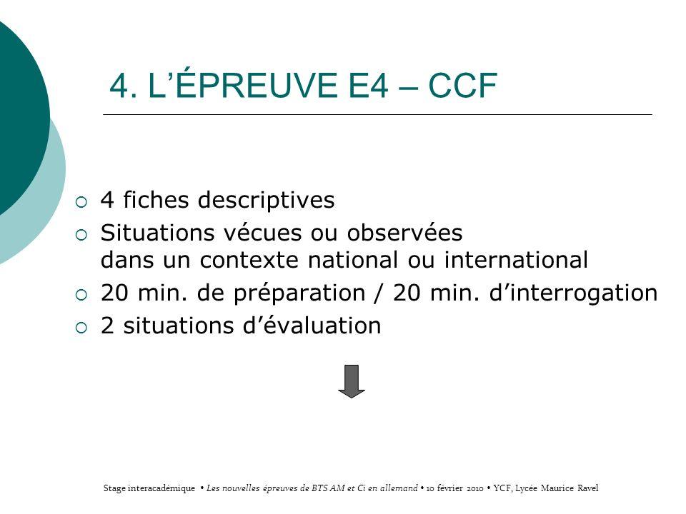 4. L'ÉPREUVE E4 – CCF 4 fiches descriptives