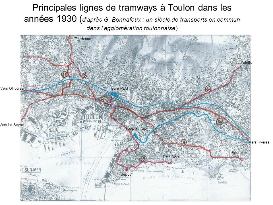 Principales lignes de tramways à Toulon dans les années 1930 (d'après G. Bonnafoux : un siècle de transports en commun dans l'agglomération toulonnaise)