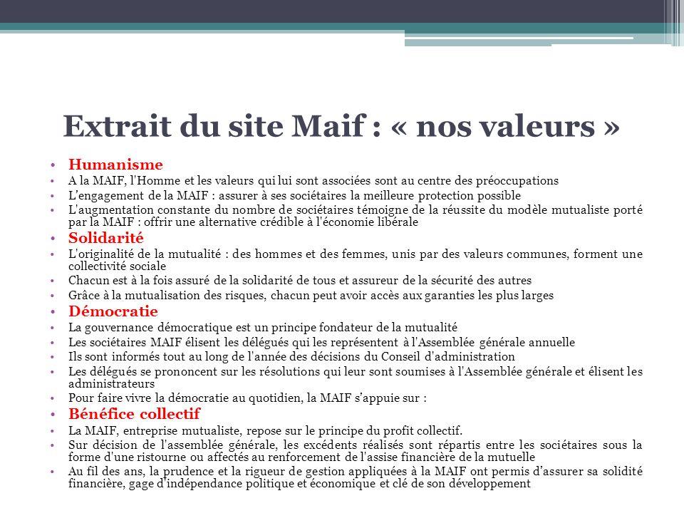 Extrait du site Maif : « nos valeurs »