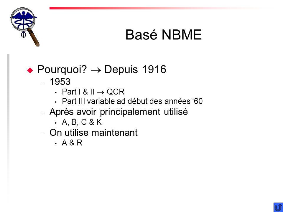 Basé NBME Pourquoi  Depuis 1916 1953