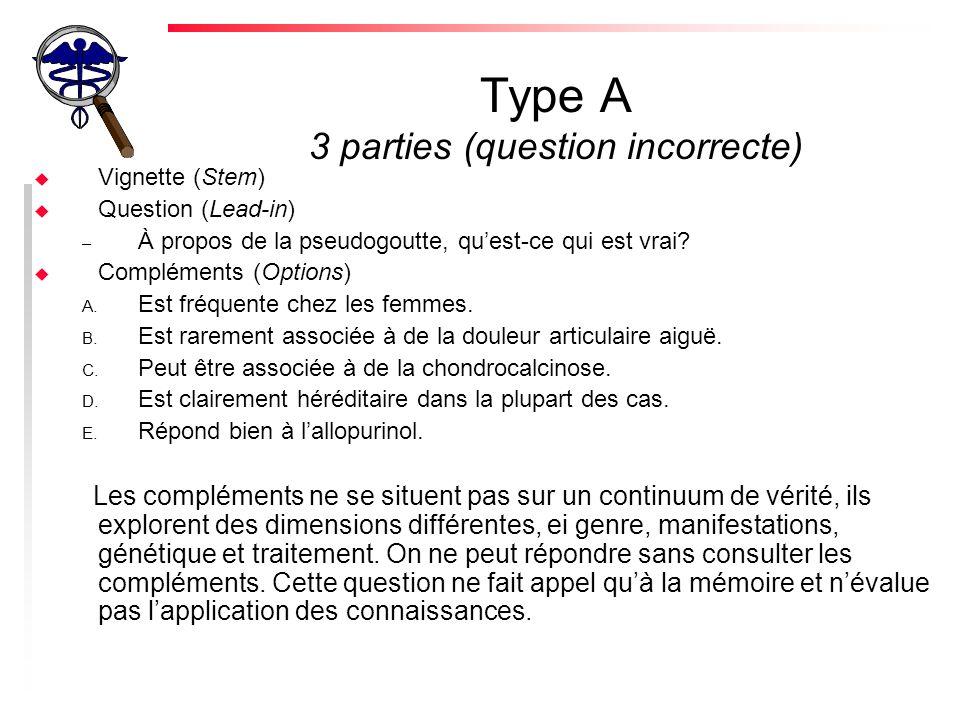 Type A 3 parties (question incorrecte)