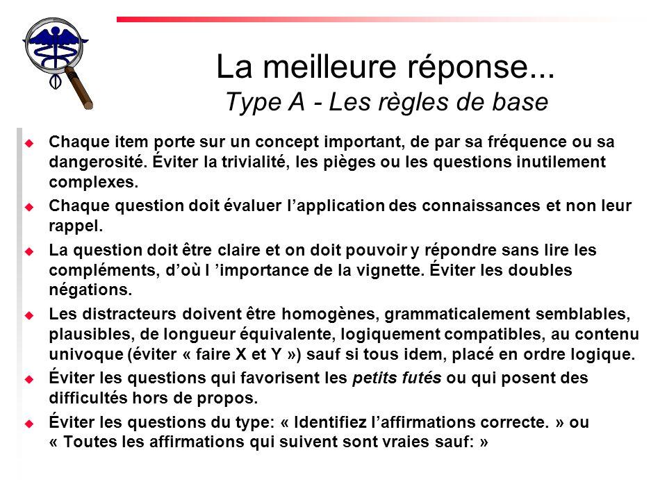 La meilleure réponse... Type A - Les règles de base