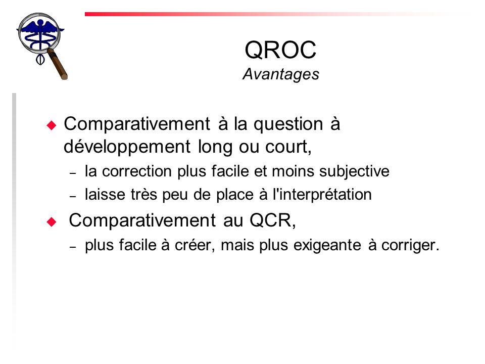 QROC Avantages Comparativement à la question à développement long ou court, la correction plus facile et moins subjective.