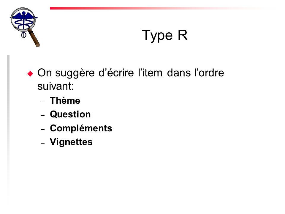 Type R On suggère d'écrire l'item dans l'ordre suivant: Thème Question