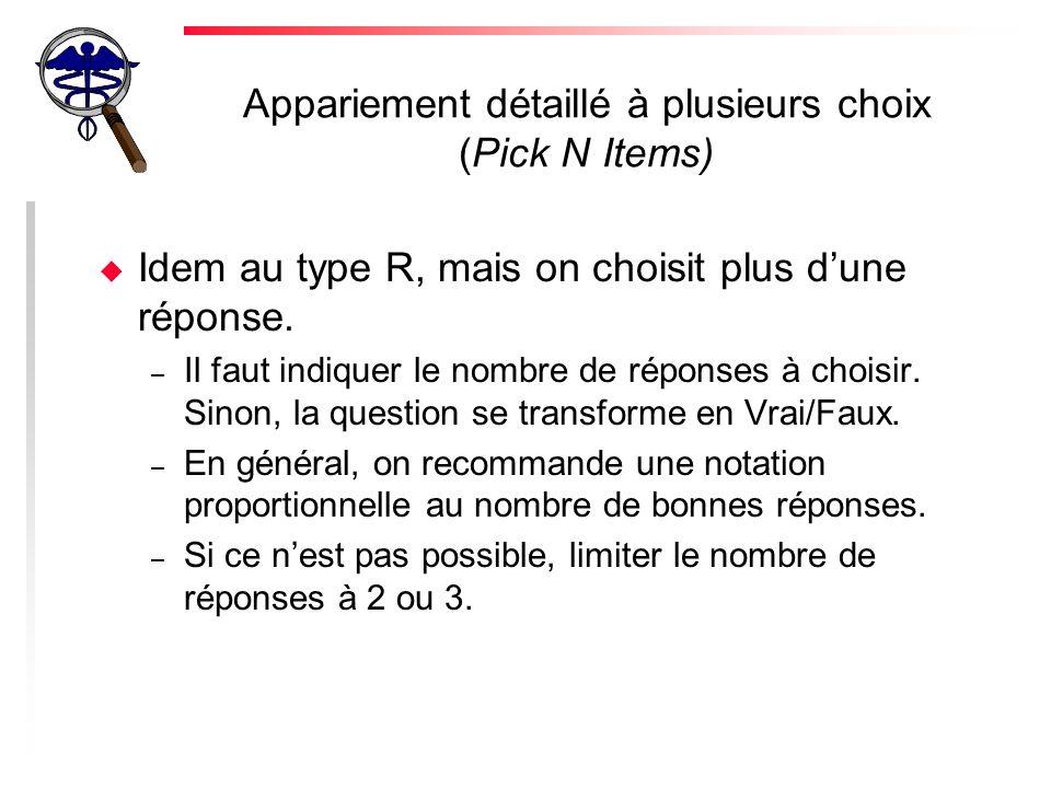 Appariement détaillé à plusieurs choix (Pick N Items)