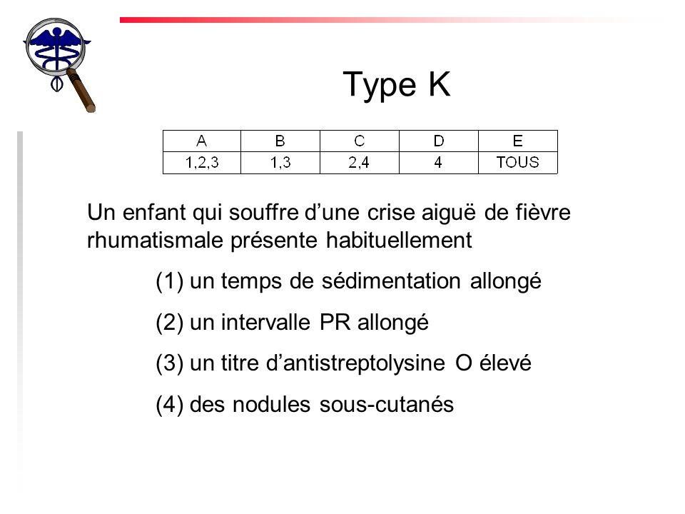 Type K Un enfant qui souffre d'une crise aiguë de fièvre rhumatismale présente habituellement. (1) un temps de sédimentation allongé.