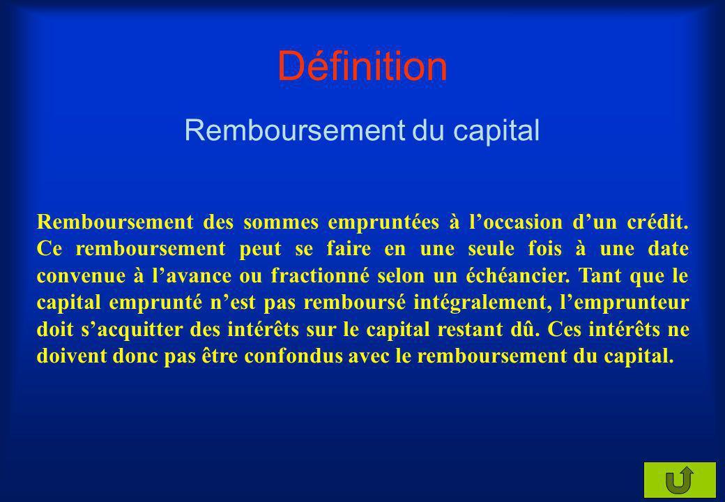Remboursement du capital