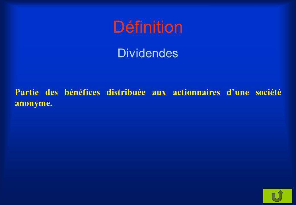 Définition Dividendes