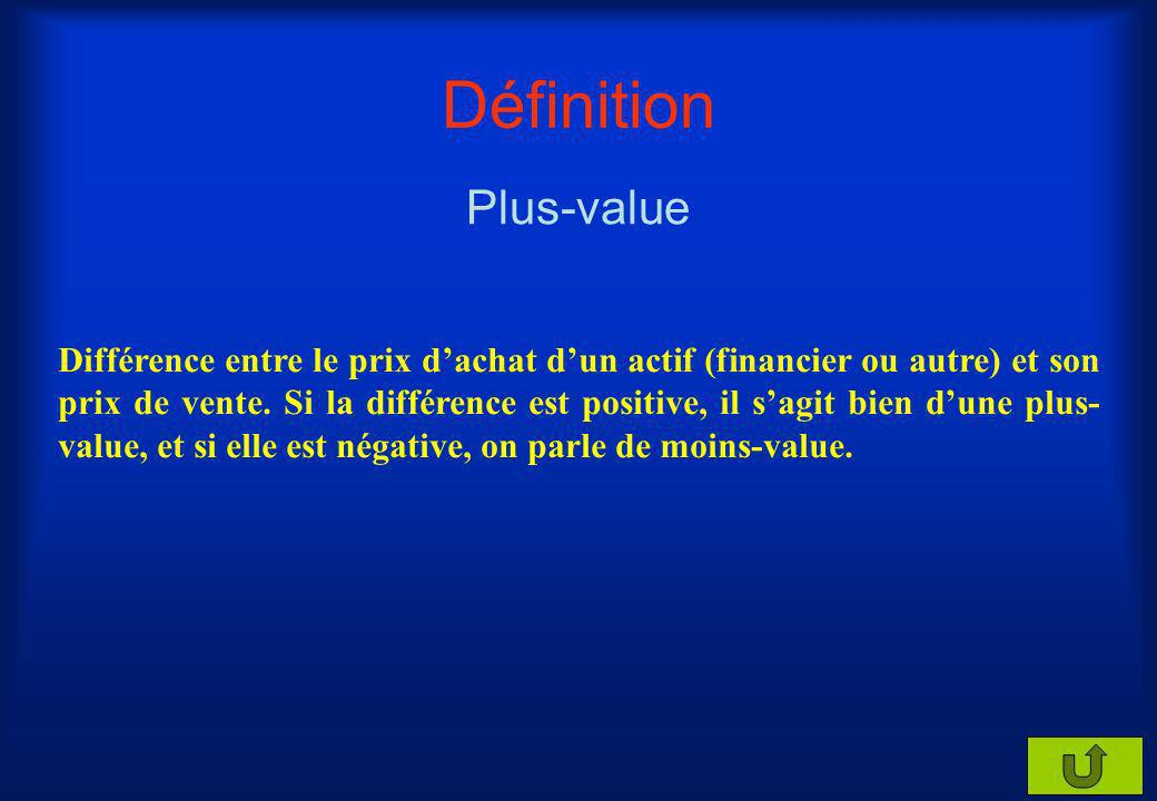 Définition Plus-value