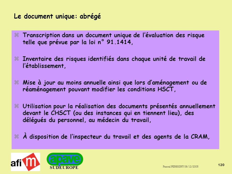 Le document unique: abrégé
