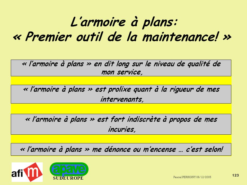L'armoire à plans: « Premier outil de la maintenance! »