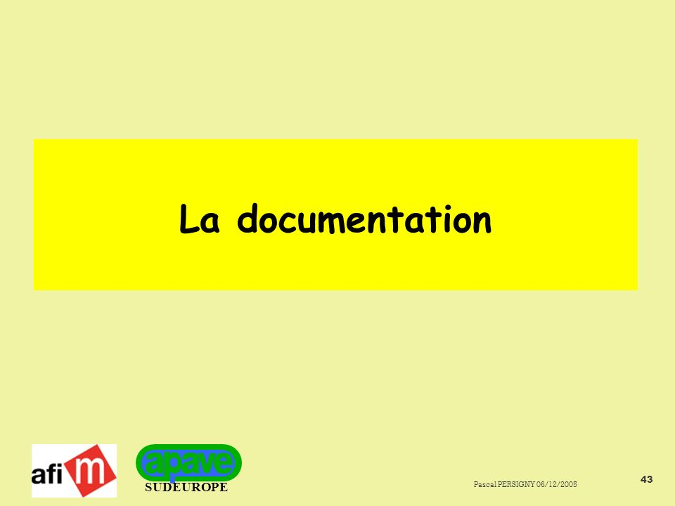 La documentation Pascal PERSIGNY 06/12/2005
