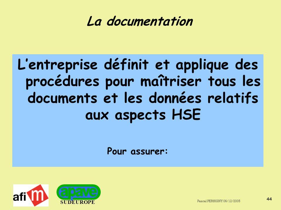 La documentation L'entreprise définit et applique des procédures pour maîtriser tous les documents et les données relatifs aux aspects HSE.
