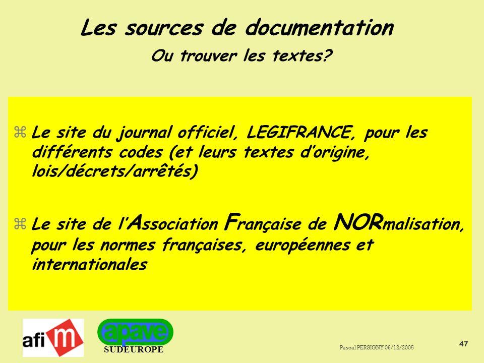 Les sources de documentation Ou trouver les textes